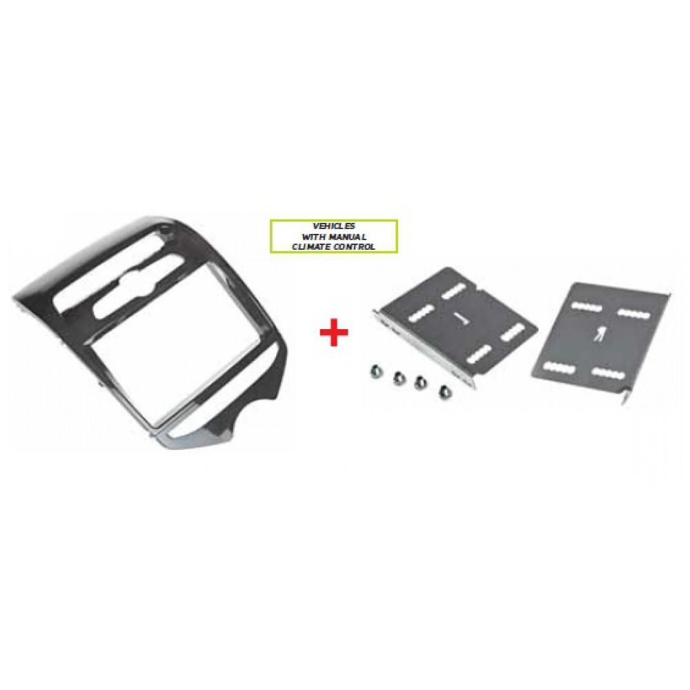 Radio Frame - Hyundai ix20 2010 - 2DIN - Manual Air Conditioning control - Colour: Bright black